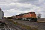 BNSF 5954 Leads a loaded coal drag down the K line.