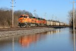 BNSF 5929 Creeps past the flood water.