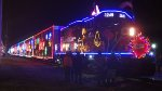 US Canadian Pacific Holiday Train on December 4, 2014 at 20:15 tied up in Muscatine, IA: 15 cars pulled by GP20ECO 2249