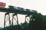 A NS eastbound crosses Cottonmill trestle.