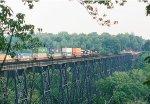 A northbound NS intermodal crosses the James River Bridge.