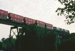 A NS eastbound crosses Cottonmill trestle.