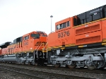 Nose to nose detail shot of BNSF 9382 and 9376