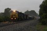 Q501 rolls east on the Garrett Sub in a moderate rain