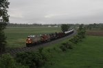 Rolling toward Blue Grass Cut, CREX, BNSF & NS power take K040 east
