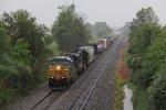 Coming east through the constant rain, Q368 makes its way toward Garrett