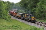 A pair of hard working CSX SD40's lead a pair of GE's west on Q393