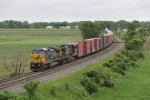 CSX 7384 & 5345 roll east at track speed with Q200