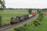5435 leads two C40-8W's east with Q010 stretched out behind them