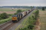 Stretched out for over a mile behind 3010, Q388 comes east on Track 1