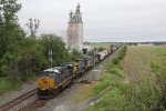 Q388 splits through the EAS signals for the junctions as the feed mill looms overhead