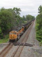 A pair of BNSF 70MAC's provide the power as N793-29 heads east on the Garrett Sub
