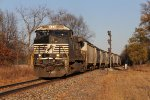 NS 9805 slowly starts its way toward Elkhart with a grain train from The Andersons
