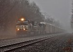 Westbound auto racks through Millerstown on a dreary day
