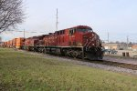 CP 8529 Roar's into West Salem with a stack train in tow.