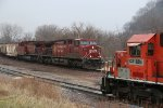 CP 9834 Meet's ICE 6214 at Marquette Iowa.