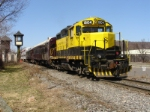SYPX, the Mrathon-Cortland shuttle train sits near the old DL&W watchmans tower
