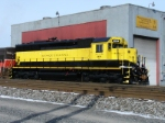 SD45(-2?) 3634, in fresh paint, waits to be put back into service after an overhaul