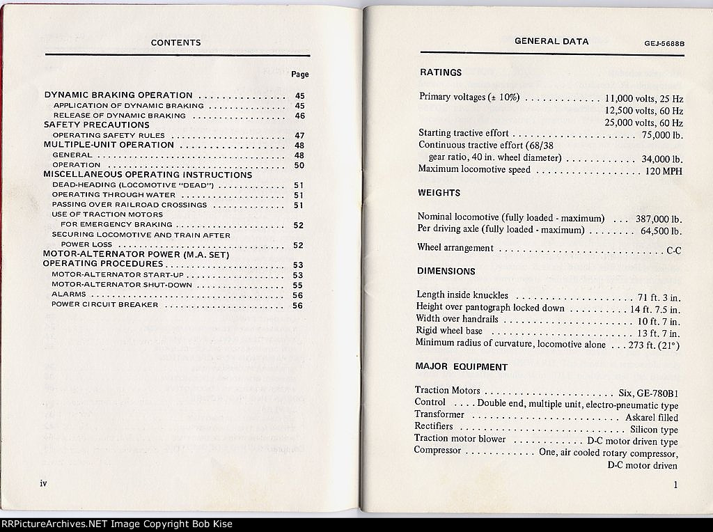Contents page iv and General Data page 1