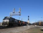 NS 9410 heads west with train 856 a solid loaded coal train