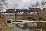 Train symbol NBPO crosses the Walloomsac River on the high trestle at North Hoosick