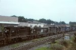 CR GP38-2 8090 runs fourth in a lash up of 10 black and blue units