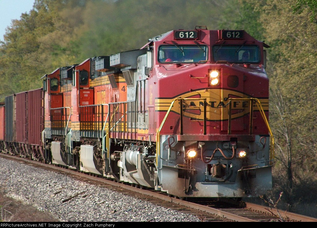 Southbound BNSF Loaded Ore Train With an Ex-ATSF BNSF 612 C44-9W Warbonnet Leading