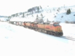 BNSF 4555 Dash 9 on a bright snowy day