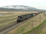 "The ""L-M"" (Laurel-Missoula) train led by MRL 331 SD45-2 passing below Sheep Mountain"