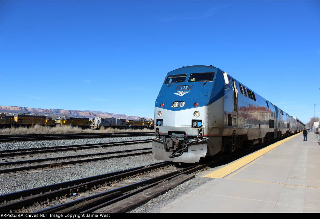 Amtrak 6 and UP Switchers in Grand Junction