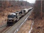 NS 6947 leads westbound empty oil through Jutland, NJ