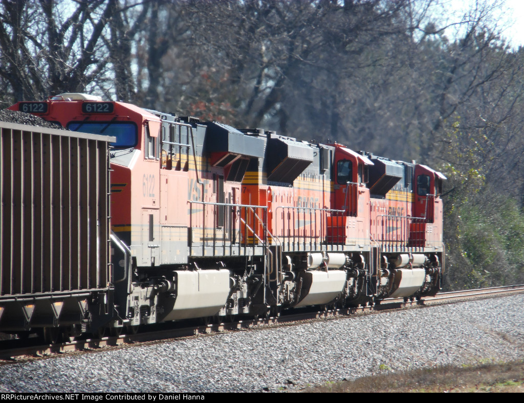 BNSF 9231, 8597, and 6122 muscle a 18000+ ton coal drag eastward