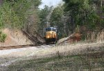 CSX ES40DC 5445 exits the woods