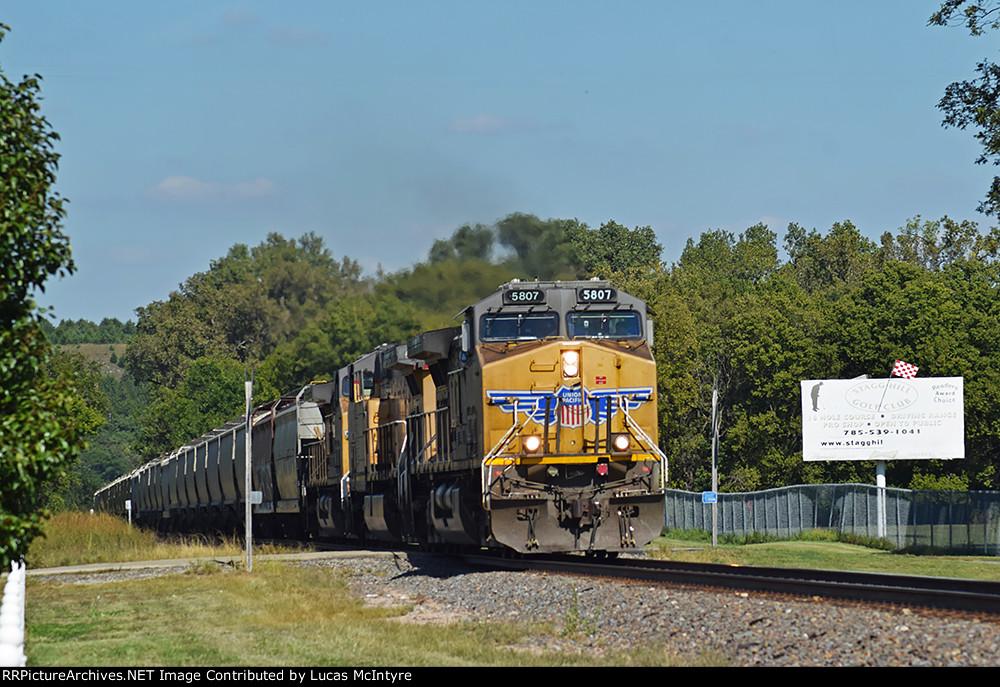 UP 5807 westbound UP empty grain train