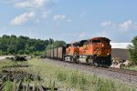 BNSF 9058 Races into Old Monroe with a coal load in tow.