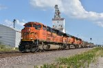 BNSF 8582 Screams past the Elevator in Old Monroe Mo.