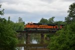 BNSF 8536 Rolls over a small creek on the K line.