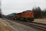 BNSF 4938 Dpu's on a eastbound stack train.