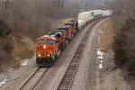BNSF 7030 Drags a Q train with some Reefers.