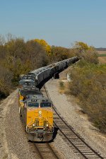 UP 7214 southbound UP loaded grain train