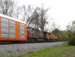 Two ex-Southern Pacific AC44CW's lead a NS autorack