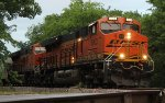 BNSF 8003 leads a mixed freight south out of Gribble Siding.