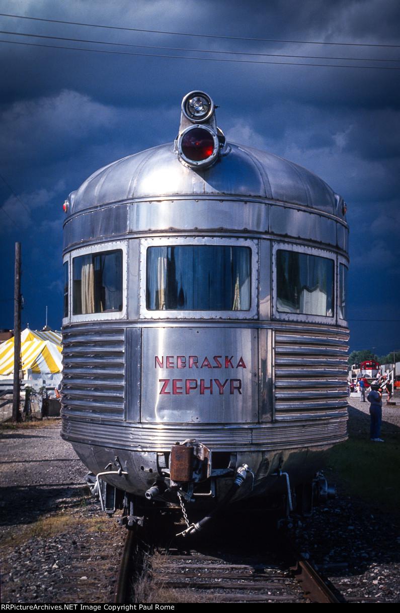 CB&Q Nebraska Zephyr on display at Galesburg Railroad Days,