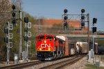 CN 8819 leads a freight west through CP Gord