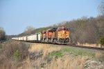 BNSF 5005 Drags a Cargill train east down the Emporia Sub.
