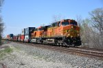 BNSF 4047 Drags a Eastbound stack train though Pomona Ks.