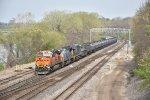 BNSF 7102 Drags a propane train toward Argentine yard.