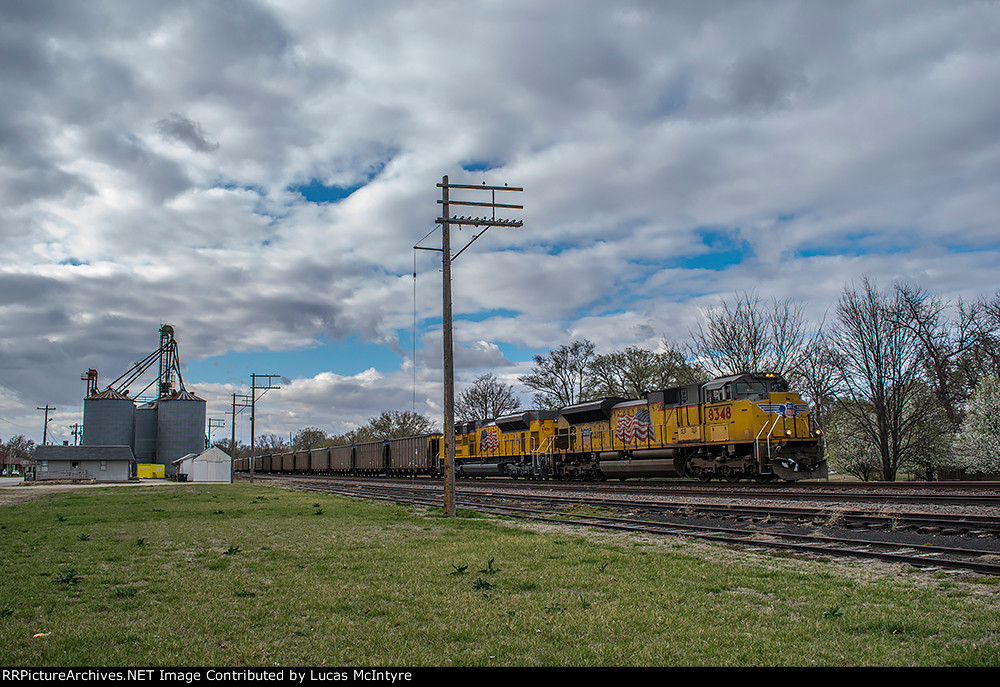 UP 8348 eastbound UP loaded coal train