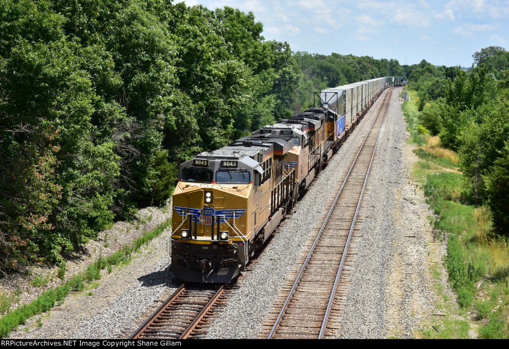 UP 8043 Leads a westbound stack train down the Marceline Sub.