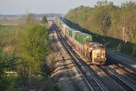 UP 8062 Leads a Eastbound stack into the morning Sun.